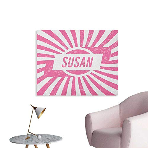 Anzhutwelve Susan Art Decor Decals Stickers Female Name with Grunge Effect Birthday Girl Celebration Striped Backdrop Poster Print Pale Pink and White W28 xL20 ()