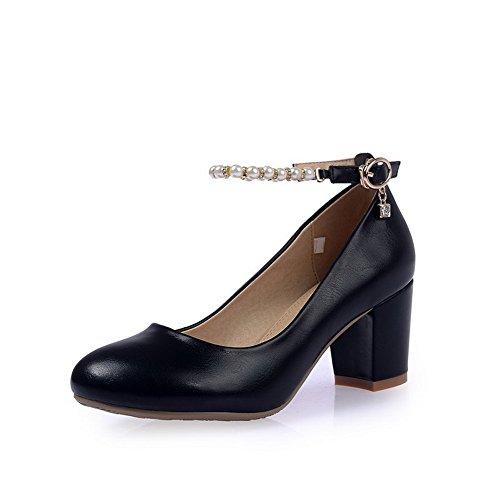 Amoonyfashion Femmes Kitten-heels Pu Solides Chaussures À Bout Rond-chaussures Noires