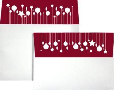 Printable Holiday Ornaments (A7 Holiday Invitation Envelopes w/Peel & Press (5 1/4 x 7 1/4) - Ornaments Print (50 Qty) | Perfect for Invitations, Announcements, Sending Cards, 5x7 Photos | Printable | 80lb)