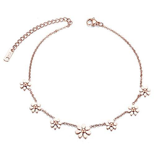 Daisy Flowers Anklet Bracelet for Women, Rose Gold Stainless Steel Adjustable Size, 10