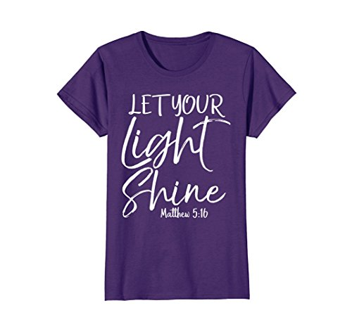Womens Let Your Light Shine Shirt Vintage Bold Cool Christian Tee Large Purple