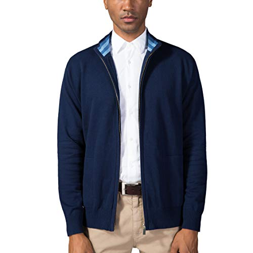 Kallspin Men's Relaxed Fit Solid Full Zip Cardigan Sweaters (Navy Blue, M)