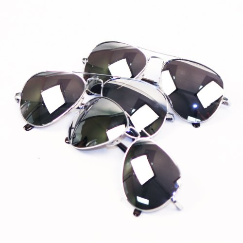 Silver Frame Mirror Lens Aviator 3-Pack w/ Drawstring Sunglass Pouches