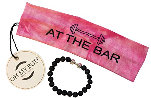 Bar Headband - OH MY BOD Brand gray or pink tie-dye headband AT THE BAR Bonus free dumbell bracelet WOD crossfit yoga exercise womens moisture wicking tie dye (pink)