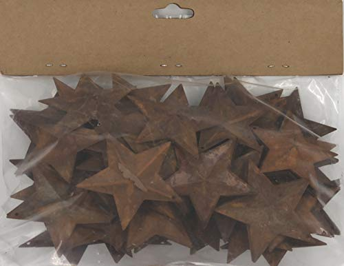 Group of 100 Rusted Metal Stars with Hole for Decorating and Finishing
