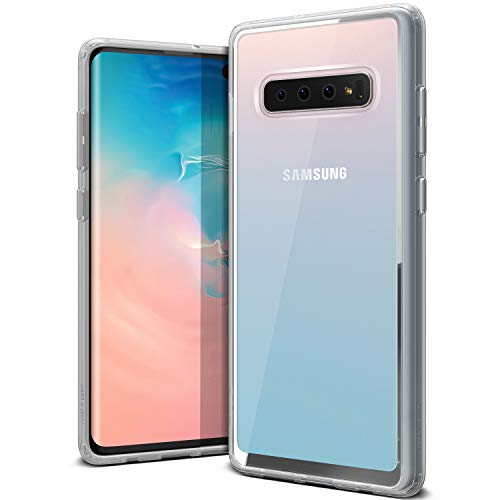 Galaxy S10 Plus Case VRS Design Anti-Yellowing Crystal Clear Slim Soft Protective Reinforced Corners [Crystal Chrome] [Clear Back/Translucent Side] Back Cover for Galaxy S10 Plus(2019)