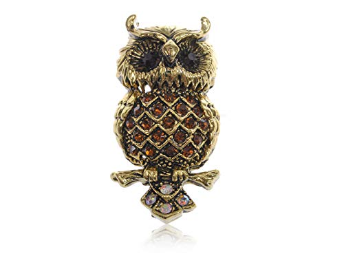 (Vintage Clear Crystal Rhinestone Hooting Tree Owl Style Silver Plated Brooch Pin (Color - Gold-1))