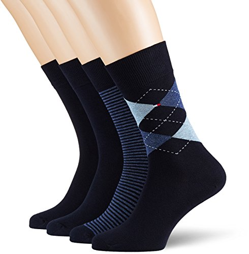 Tommy Hilfiger Men's TH Argyle Stripe Box 4P Calf Socks, Blau (Dark Navy 322), 9/11 pack of 4