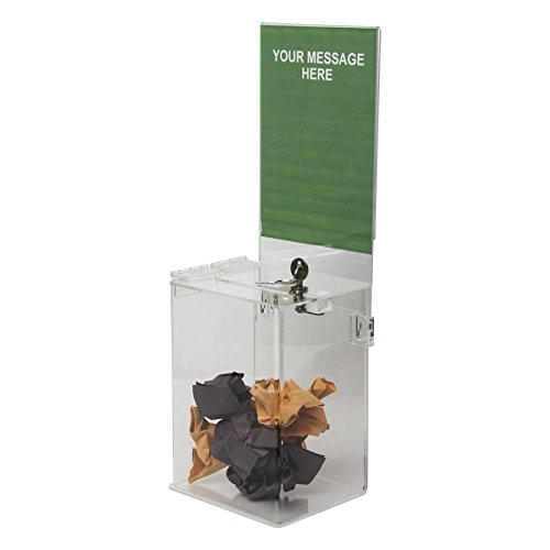 Clear-Ad - Clear Acrylic Ballot & Donation Box 5x7x4 with Lock and Sign Holder - Plastic Countertop Container for Voting, Charity, Survey, Raffle, Contest, Suggestions, Tips, Comments (Pack of 1) ()