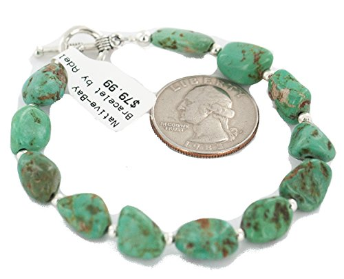 $80 Retail Tag Certified Authentic Navajo Natural Turquoise Native American Bracelet 13173-1