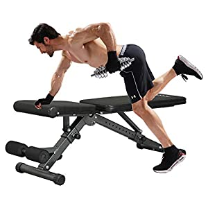 KICODE Weight Bench, Strength Training Bench Adjustable Olympic Weight Bench for Home Gym, 2″ Reinforced Square Frame, Foldable Incline Bench