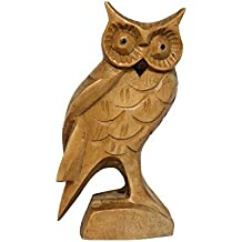 G6 Collection Hand Carved Wooden Owl From Crocodile Wood Decor Statue Handcrafted Art