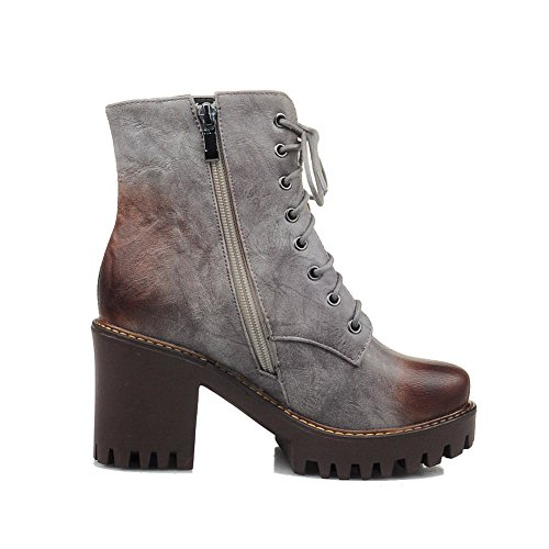 AllhqFashion Womens Solid PU High-Heels Zipper Round Closed Toe Boots Gray dVDBEKb6N