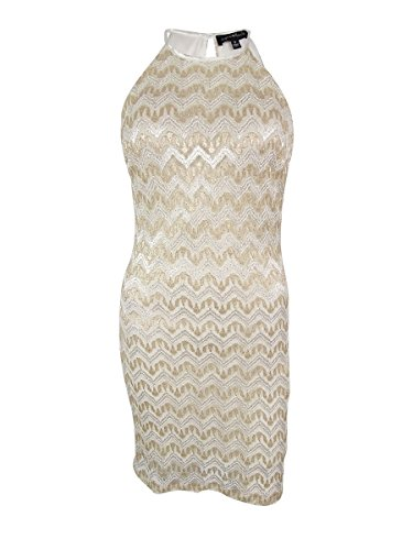 My Michelle Sequin Hearts by Junior's Horizontal Stripe Dress with High Neckline Key Hole at Back, Ivory/Gold, 9 by My Michelle (Image #1)