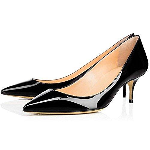 Mavirs Femmes Fermé Bout Pointu Bas Chaussures Talon Chaton Brevet Patinage Sur La Robe Pompe Chaussures 3 Solide Noir