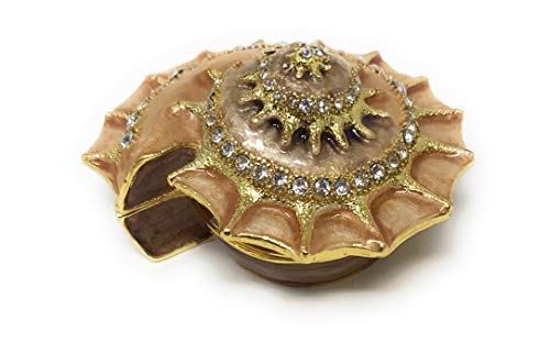 Kubla Crafts Enameled Nautilus Shell Trinket Box, Accented with Austrian Crystals, 2.5 Inches - Nautilus Shell House