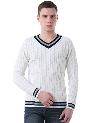 uxcell Men V-Neck Cable Pattern Cricket Ribbed Long Sleeves Knitted Sweater White L(US 44)