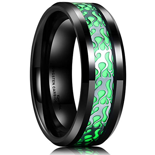 Black Tungsten Carbide Wedding Ring Silver Pattern Inlaid Green Luminou Glow11 ()