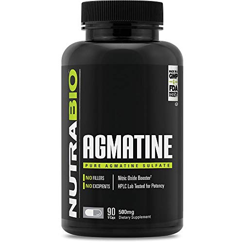 NutraBio Agmatine Sulfate – Boosts Nitric Oxide for Better Muscle Pumps – 500 mg – 90 Vegetable-Caps
