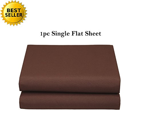 Elegant Comfort Luxury Ultra Soft Single Flat Sheet Special Treatment Construction Queen, Chocolate Brown