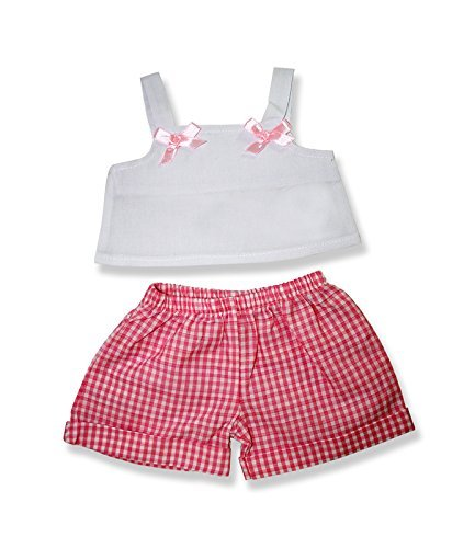 Pink Gingham Shorts with White Top  6080 Fits 15   16  bears, includes Build a Bear, The Bear Mill, and Stuff your own Animals. by The Bear Mill