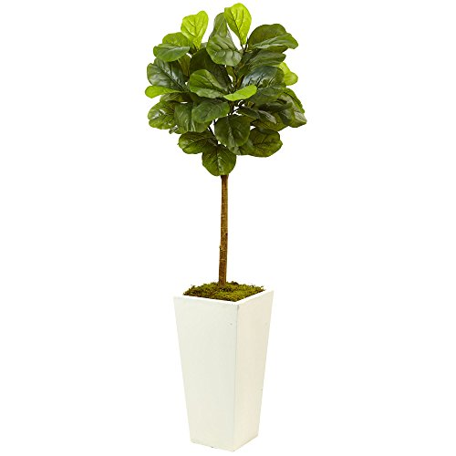 Nearly Natural 5966 4.5' Fiddle Leaf Fig in White Planter (Real ()