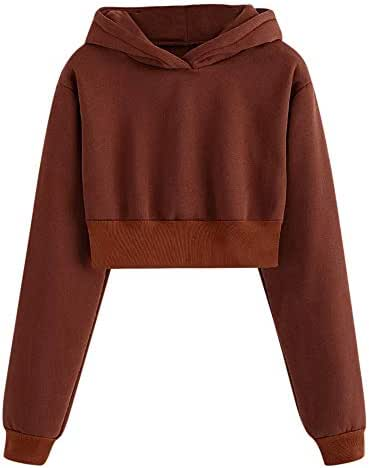 NOMUSING Sweatshirts for Women Hoodie Pullover Solid Color Round Neck Casual Loose Long Sleeve Tops Blouse Outerwear