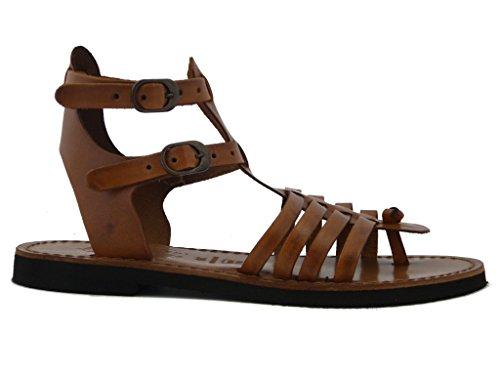 Sandale tong wrap slake cristal pour Femme genre slake flat Cuir Marron-Cuir pied en cuir naturel et à semelles en caoutchouc antidérapant 1357-Eté