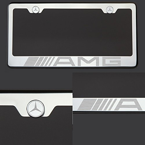 One AMG Mercedes Benz Logo Laser Engraved Polish Mirror Stainless Steel License Plate Frame with Logo Steel Chrome Screw Cap