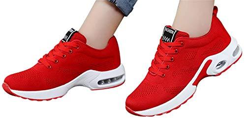 Gyoume Sports Shoes Women Slip On Shoes Running Walking Shoes Student Mesh Shoe Red