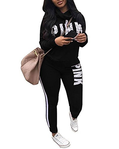 Womens 2 Piece Pant Suit - Women's 2 Pieces Outfits Long Sleeve Drawstring Cowl Neck Sweatshirts and Pants Sweatsuits Tracksuits Black XL