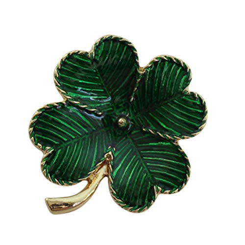 BESTOYARD Shamrock Gold Plated Four Leaf Brooch Clover Retro Lapel Pin St. Patricks Day Accessory (Green)