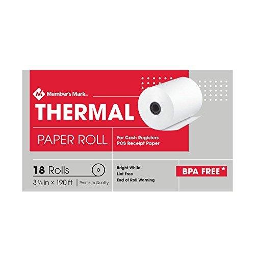 Member's Mark Thermal Receipt Paper Rolls, 3 1/8'' X 190', 18 Rolls by Member's Mark