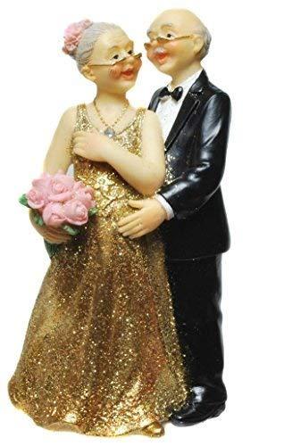 Goldpaar Mit Blumenstrauß In Der Hand Goldhochzeitspaar 50hochzeitstag Goldene Hochzeit Goldenes Hochzeitspaar Goldenes Brautpaar Tischschmuck