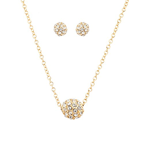 Lux Accessories Pave Crystal Fireball Pendant Necklace Matching Stud (Fireball Pendant)