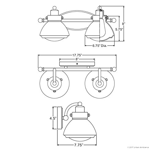 Luxury Transitional Bathroom Vanity Light, Medium Size: 8''H x 17.75''W, with Rustic Style Elements, Oil Rubbed Parisian Bronze Finish and Seeded Schoolhouse Glass, UQL2651 by Urban Ambiance by Urban Ambiance (Image #6)