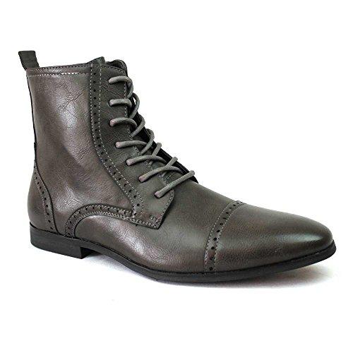Nieuwe Mens Cap Teen Laarzen Gedetailleerde Perforatie Jurk Schoenen Moderne Oxfords Door Azar Grijs