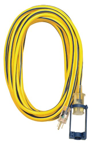 Voltec 05-00105 12/3 SJTW Outdoor Extension Cord with E-Zee Lock and Lighted End, 25-Foot, Yellow with Blue Stripe Ezee Lock