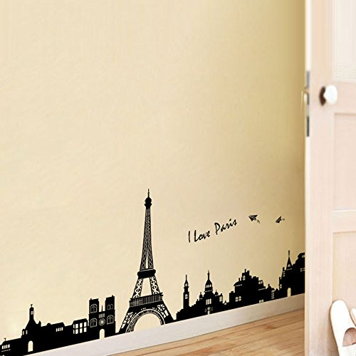 Amazon.com: Paris Wall Decals - Eiffel Tower Wall Decor - Black and ...