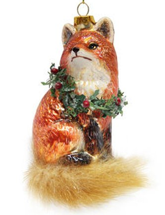 December Diamonds Blown Glass Ornament - Fox with Wreath