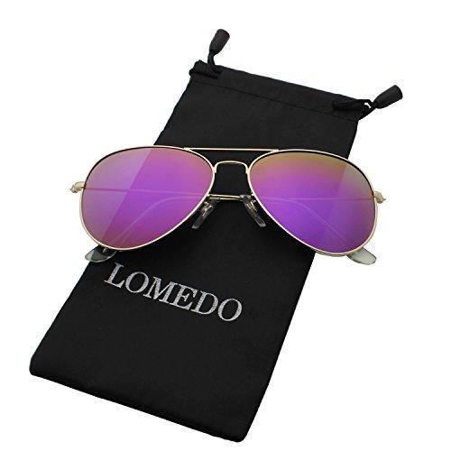 18eb20a76ac9 Aviator Purple Mirrored Flash Lens Polarized Sunglasses Small Metal Frame -  Buy Online in Oman.