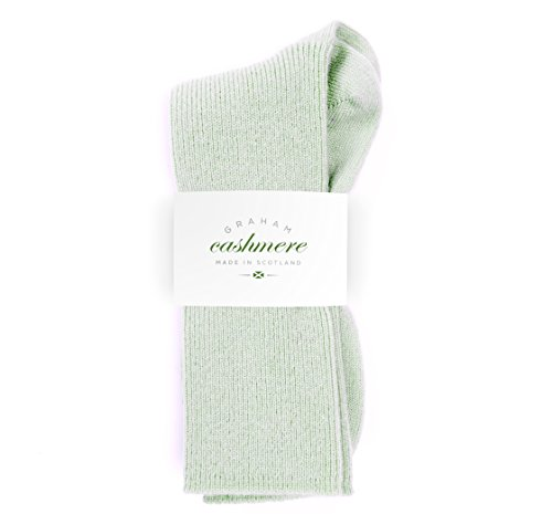 Graham Cashmere Women's Cashmere Rib Socks Gift Boxed One Size Green