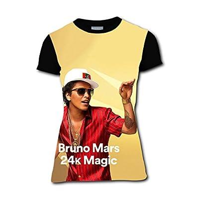 FH1-ERX Womens 24k Magic Bruno Mars T-Shirt Short Sleeves Tee Creative 3D Print