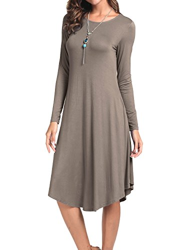 Levaca Womens Fall Solid Draped Loose Beach Casual Flowy Midi Dress Khaki M