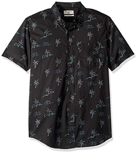 (Billabong Men's Sundays Mini Short Sleeve Shirt Black/Aqua Medium)