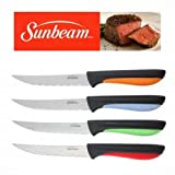 Sunbeam Steak Knives Set of 4 Stainless Steel Blades Red Green Orange Blu Handle