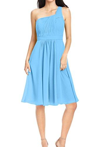 Falte Ivydressing Schnuerung Festkleid Linie Chiffon Schulter Blau mit Partykleid Ballkleid Ruecken A Kurz ein Abendkleid Sweetheart aermellos xqXRTrFq