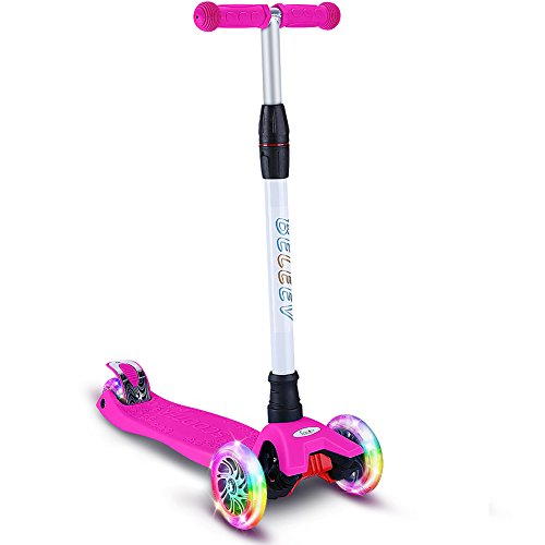 BELEEV Kick Scooter for Kids 3 Wheel Scooter, 4 Adjustable Height, Lean to Steer with PU LED Light Up Wheels for Children from 3 to 13 Years Old (Rose Pink)