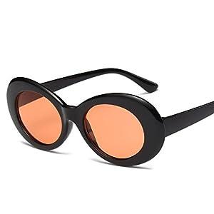 XENO-For Women Men Kurt Cobain Mirrored Glasses Sunglasses Vintage NIRVANA Round(black&red)