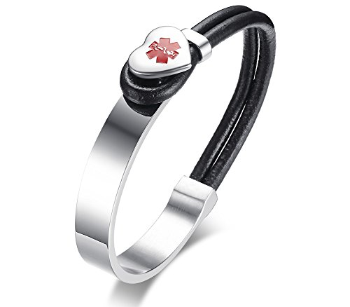 Personalized Free Engraving Fashion Stainless Steel Leather Medical Alert ID Bangle Bracelets for Women